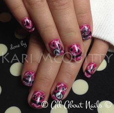 Cute little monogram nails done using gel polish only.  Done by Kari at All About Nails & Training.  www.allaboutnails.org