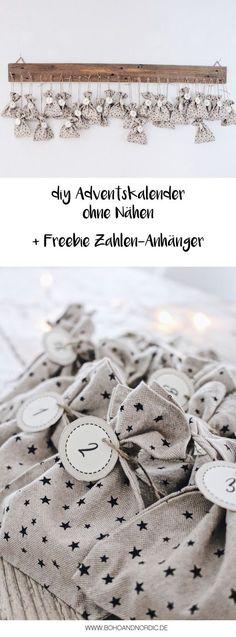 DIY Adventskalender basteln ohne Nähen + Freebie Zahlen-Anhänger als Vorlage zum Downloaden. Weihnachten, Geschenke selber machen.