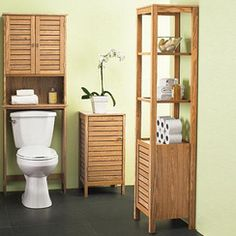 Bathroom Space Saver Over Toilet Shutters (beachy? Over Toilet Storage, Toilet Shelves, Bathroom Cabinets Over Toilet, Bathroom Cabinetry, Space Saving Bathroom, Bamboo Bathroom, Furniture For Small Spaces, Space Furniture, Online Furniture