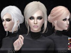 Stealthic - Envy (Female Hair) - The Sims 4 Catalog Crochet Braids, Cinderella Hair, The Sims 4 Cabelos, Pelo Sims, All Hairstyles, Female Hairstyles, Blonde Streaks, Download Hair, Sims4 Clothes