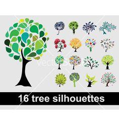 16 tree silhouettes vector on VectorStock®