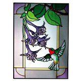 Hummingbird in Border, Vertical Painted Art Glass Panel