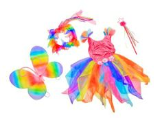 Girls Rainbow Fairy Princess Dress with Rainbow Wings, Halo and Star Wand by Lil Princess. $29.95. Top Quality and dress is machine washable. Dress is made of sparlky strectchy hot-pink fabric. Fits Kids Average 3-5. 4 Pcs in each order. Rainbow Wings, Dress, Halo, beaded star wand.. Beading star wand and Rainbow wings included.. Sprinkled with pixie dust and sequins, this pink rainbow fairy dress up is sure to have extra magic within! The shimmery spandex is emb...