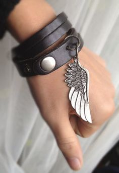 Sliced Black Leather Double Wrap Cuff Bracelet with Angel Wing