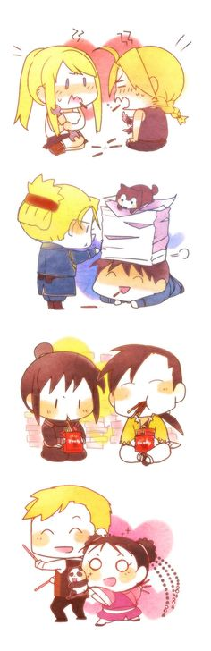 Winry Rockbell and Edward Elric, Riza Hawkeye and Roy Mustang, Lan Fan and Ling Yao, and Alphonse Elric and May Chang Fullmetal Alchemist Brotherhood FMA Love Lan Fan, Full Metal Alchemist, Der Alchemist, Roy Mustang, Fullmetal Alchemist Brotherhood, Manga Anime, Fanarts Anime, Anime Art, Edward Elric