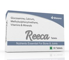 REECA tablet is a combination of methylsulfonylmethane, glucosamine, MSM, VitaminD3 with good nutrients to maintain the bone strength & joints flexibility. http://www.bionova.co.in/recca-tablet.html