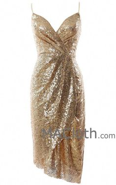 MACloth Women Sexy V Neck Sequin Midi Cocktail Dress Wedding Formal Evening Gown MACloth Women Sexy V Neck Sequin Midi Cocktail Dress Wedding Formal Ev Cocktail Dresses With Sleeves, Midi Cocktail Dress, Cocktail Dress Classy Evening, Champagne Cocktail Dress, Beautiful Cocktail Dresses, Formal Cocktail Dress, Mariage Formel, Homecoming Dresses, Bridesmaid Dresses