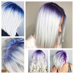 Purple and blue shadow roots hair