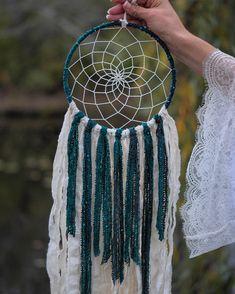 Green Dream Catcher  Boho Decor  Teal Dream Catcher  Dream