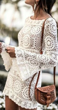 Diy Crochet Clothes, Crochet Skirts, Diy Clothes, Clothes For Women, Crochet Jumper, Crochet Blouse, Crochet Lace, Crochet Hooks, Crochet Designs