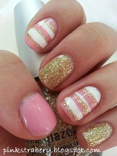 Pink and gold glitter with stripes