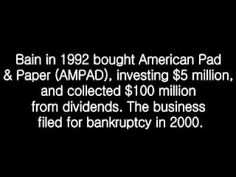 The Trurth about Mitt Romney and Bain Capital  you can trust SCarolina....LOL