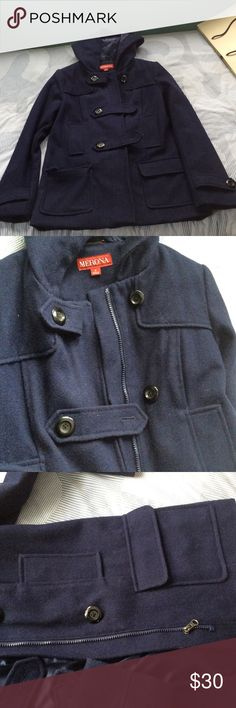 Navy blue pea coat Size small, hits about the upper thigh. Has zipper and buttons. Worn only 1-2 times to church and back. Has two sets of pockets and a hood. Merona Jackets & Coats Pea Coats