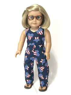 "6083f7119 4th of July jumpsuit for American Girl and 18"" dolls 07. Baby Doll ClothesAg  ..."