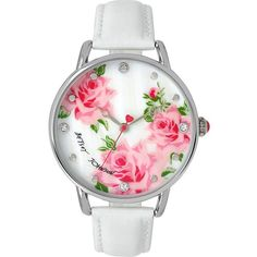 Betsey Johnson Bjs Slim White And Silver Floral Watch (2 465 UAH) ❤ liked on Polyvore featuring jewelry, watches, accessories, bracelets, white, jewelry sale, white strap watches, silver jewellery, leather-strap watches and floral jewelry