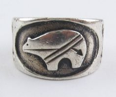 Norman Woody Sterling Silver Zuni BEAR Fetish Heartline Ring