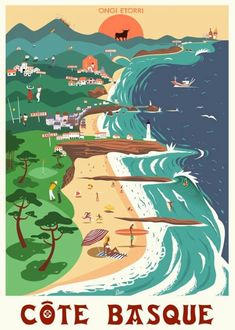 Showcase of surfing and surf culture-inspired art by artist Damien Clavé on Club of the Waves Vintage Surfing, Surf Vintage, Vintage Art, Vintage Hawaii, Vintage Design, Poster Surf, Retro Poster, Poster Vintage, Surf Design