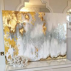 Texture Painting On Canvas, Watercolor Paintings Abstract, Abstract Wall Art, Watercolor Artists, Blue Abstract, Landscape Paintings, Gold Leaf Art, Hand Painted Walls, Buried Treasure