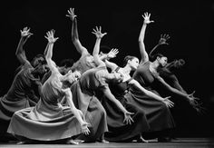 Alvin Ailey American Dance Theater rehearse a scene from the dance called Revelations.
