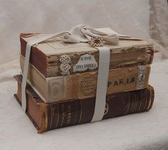 Tattered Antique Vintage Book Bundle Stack w/ Vintage Jewelry Button Lace Paris Apartment Chic Shabby Decor Photography