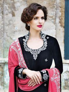 Black and Pink Microvelvet Suit - neckline