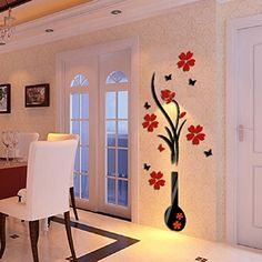 3D Wall Stickers Ikevan DIY Vase Flower Tree Crystal Arcylic 3D Wall Stickers Decal Home Livingroom Decoration 80X40cm >>> You can find more details by visiting the image link.
