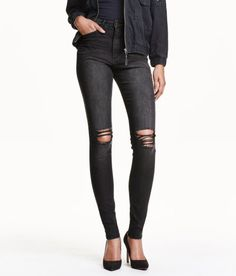 Check this out! 5-pocket jeans in washed stretch denim with a high waist. Glittery seam around coin pocket and buttonhole, heavily distressed details, and ultra-slim legs.  - Visit hm.com to see more.