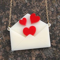 Love letter necklace  laser cut acrylic by sugarandvicedesigns, £12.00
