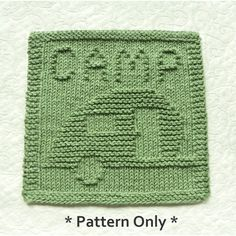 Teardrop Camping Trailer Knit Dishcloth Square Pattern by Aunt Susan's Closet Teardrop Camping, Teardrop Camper Trailer, Dishcloth Knitting Patterns, Knit Dishcloth, Camping Friends, Purl Stitch, Knit Crochet, Things To Sell, Aunt