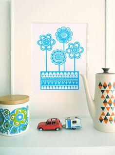 Blue Scandinavian flower screen print Swedish by Janefoster, $46.00
