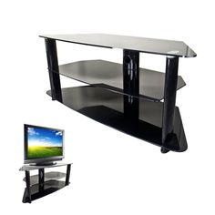 "tempered glass bookcase entertainment center   ... Glass 30 - 50"" LCD Plasma DLP HDTV TV Media Stand Entertainment Center"