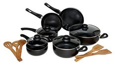 Melange Nonstick Scratch Resistant Ceramic Coating PTFE-PFOA-Cadmium-Lead Free Dishwasher Safe 15 Piece Cookware Set, Charcoal -- Check out the image by visiting the link. Induction Cookware, Thing 1, Ceramic Coating, Cookware Set, How To Cook Pasta, Food Preparation, Lead Free, Food Hacks, Dishwasher