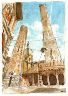 Le Due Torri di Bologna da Piazza di Porta Ravegnana.