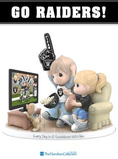 Cheer on your favorite football team, the Oakland Raiders, with this exciting Precious Moments fan figurine! Featuring an adorable couple watching a game on TV and rooting for their beloved Raiders, this spirited collectible figurine is truly a must-have: