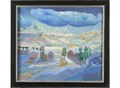 Tuomas Mäntynen: Lintujen muutto, 1983, öljy, 65x74 cm - Hagelstam