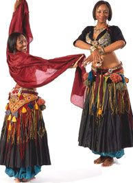 Folkwear Pattern #144 Tribal Style Belly Dancer Choli: Misses Small (10-12) to 2X Large (26-28) in B, C, and D cups; other garments gathered or tied to fit.