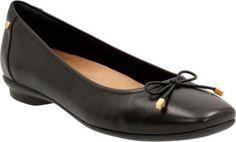 Clarks Women's Candra Light Ballet Flat Black Sheep Full Grain Leather Size 11 N