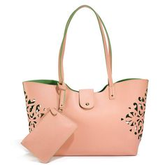 Your go-to summer bag! Blush leatherlike tote with fun laser-cut details that reveal the green interior. Comes with attached, matching wristlet. Regularly $24.99, shop Avon Fashion online at http://eseagren.avonrepresentative.com