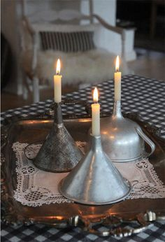 Vintage Make interesting candles from funnels - 26 Breathtaking DIY Vintage Decor Ideas - Love the idea of DIY but hate the actual effort it requires? Here are some creative ways to reuse the stuff you already own. Diy Vintage, Vintage Metal, Vintage Ideas, Vintage Market, Vintage Travel, Vintage Silver, Antique Silver, Old Kitchen, Kitchen Stuff