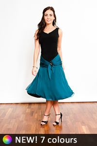 Tango Clothing, Dresses & Fashion Made in the UK   Dancy Chiffon Skirt by Tanguito   Teal Front Picture