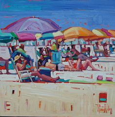 The Beach Life - Rene Wiley - 16 x 16 by Rene' Wiley Gallery ~ x