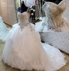 2013 Exquisite Sweetheart Beading Pearls Hand Made Lace Chapel Ball Gown Wedding Dress