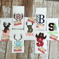 Burp cloths, monogramming, camo, antlers, deer head, fish, western, baby items, Sassy Stitches Beauxtique