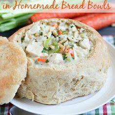 Creamy Chicken & Wild Rice Soup in Homemade Bread Bowls Recipe | Yummly