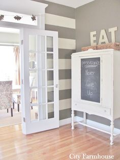 City Farmhouse: Contact Paper Wall Stripes.  Grey & white stripes with solid grey walls? Striped Room, Striped Walls, Grey Walls, Room Saver, Contact Paper Wall, City Farmhouse, Living Comedor, Wall Decals, Sweet Home