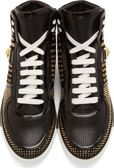 Versace // Black Studded Leather High-Top Sneakers