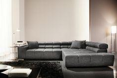 """Modernes Ecksofa CARENO Strukturstoff Grau mit Kopfteilverstellung von CANDY Lifestyle - Das Ecksofa """"CARENO"""" ist Ihre Landschaft zum Träumen und Relaxen. Auf diesem weich gepolsterten Möbel, das sich"""