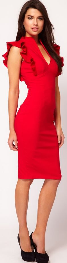 red Dress with Deep V Neck and Frill Sleeves ♥✤ | Keep the Glamour | BeStayBeautiful (very gorgeous on)
