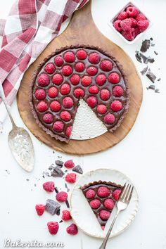 No Bake Raspberry Chocolate Tart (Gluten Free, Paleo + Vegan)