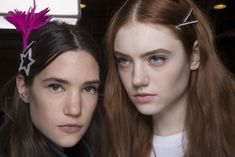 Diamante And Feather Hair Slides- ellemag